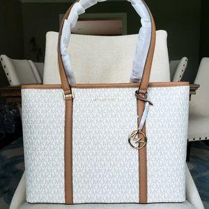 🌺NWT Michael Kors LG Sady Tote Bag Vanilla brown